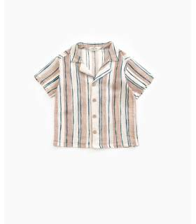 PLAY UP Striped shirt with coconut buttons