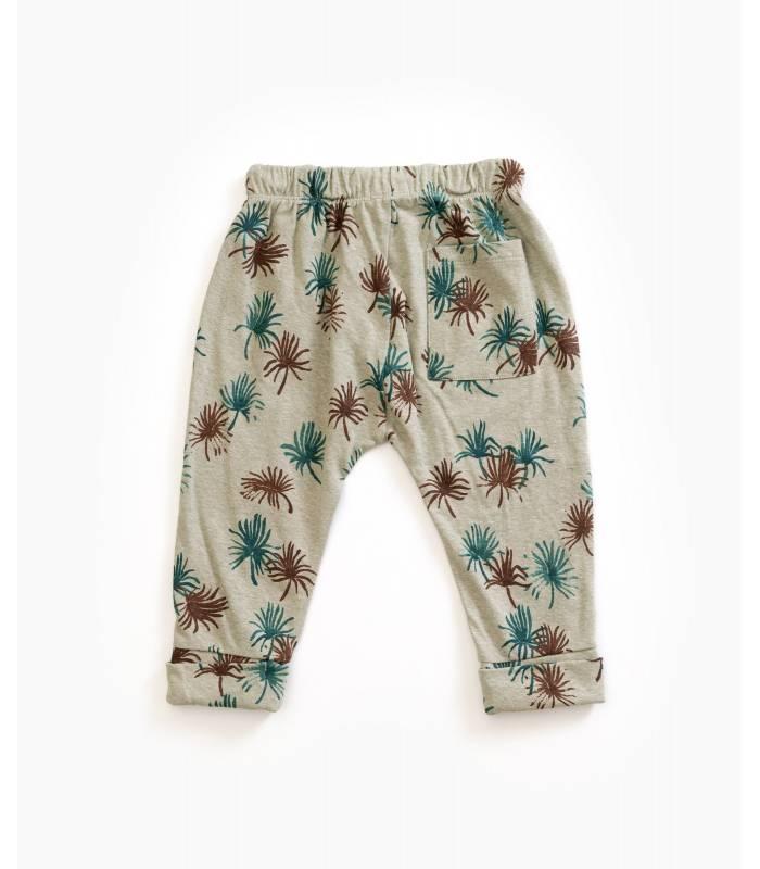 PLAY UP Pantalón estampado algodón orgánico y lino