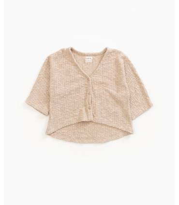 Knit jacket with wooden...
