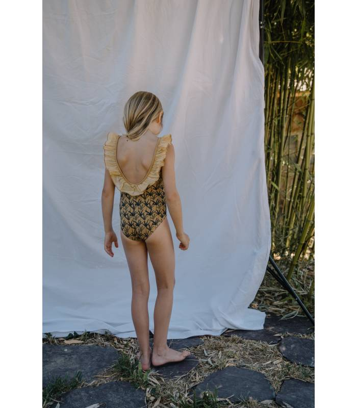 """BÚHO GIRLS SWIMSUIT WITH """"PALM"""" PRINT"""