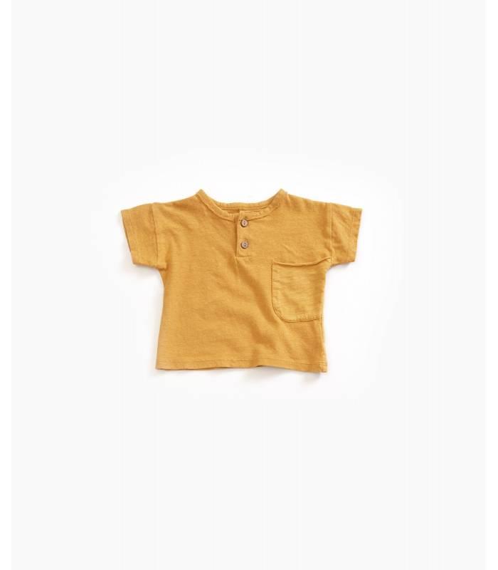 PLAY UP Camiseta de algodão orgânico com botão coco