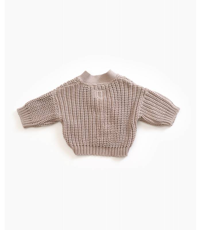 PLAY UP Chunky knit jacket with resin buttons