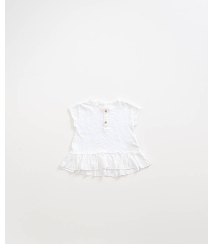 PLAY UP Camiseta com babado de algodão orgânico